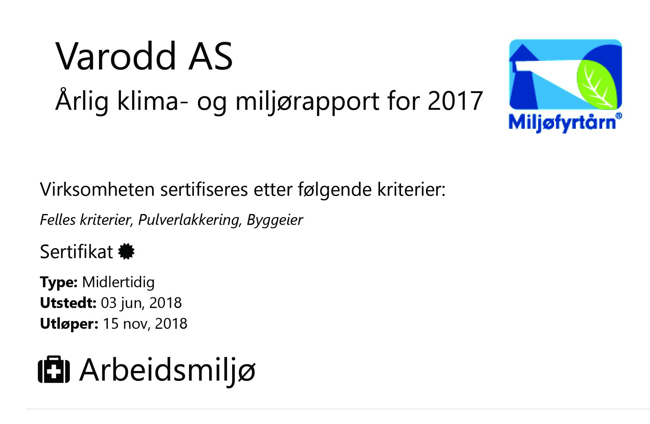 Miljørapport 2017 for Varodd