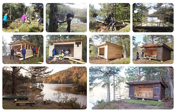 """Varodd bygger gapahuken """"Utsikten"""" ved Fiskåvann."""